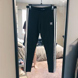 Adidas Three Striped Black & White Leggings